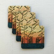 Trees at sunset coasters